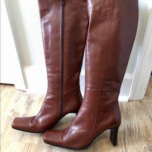 Charles David Brown Knee High Boots damaged